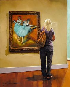 """""""It's a Stretch"""" by Karin Jurick ~  a visitor viewing Edgar Dega's 'dancers at the bar' in the Phillips collection in Washington, DC"""