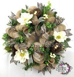 Deco Mesh Burlap Spring Door Wreath Magnolias Nests Eggs Zebra Print Wedding Decor