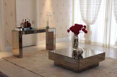Mesas de espelho para decoração de festa