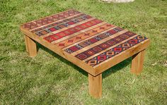Printed coffee table with ethnic artwork. $700.00, via Etsy.