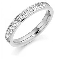 1.00ct VS FG Princess Cut Diamond Full Eternity Ring 14K White Gold Wedding Band  | eBay