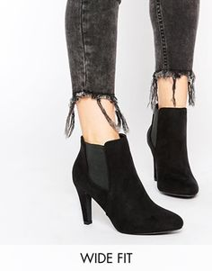 Shoes Under Discount - Women\'s - New Look Wide Fit Black Heeled Ankle Boots  - Black - Shoes