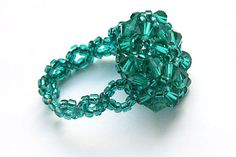 Beaded Ring Weaved Swarovski Crystals and Seed by KapKaDesign, $24.00