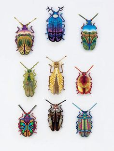 Wisconsin's Joyce Fritz has been celebrating creepy crawlies in the most dramatic ways since You'll see her Yipes polymer insects in crawling around the finest galleries and shops across the country. That doesn't leave her much time for o [. Beetle Insect, Insect Art, Art And Illustration, Illustrations, Insect Photos, Motifs Animal, Bug Art, Insect Jewelry, Beautiful Bugs