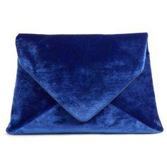 Women's Dries Van Noten Velvet Envelope Clutch found on Polyvore featuring bags, handbags, clutches, blue, retro purses, dries van noten handbags, dries van noten, blue shopping bag and blue handbags