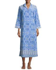 Long-Sleeve Zip-Front Caftan, Women's, Size: M, Blprt - Oscar de la Renta Pink Label