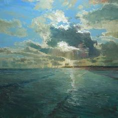 "Neil Pinkett - ""Almost Quiet but for the Lapping Waves"" oil on canvas board"