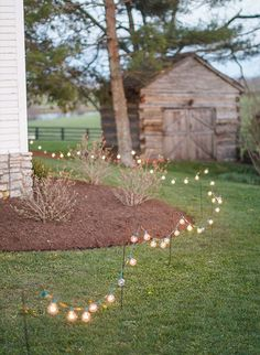 Backyard wedding decoration ideas with lights for a simple and charming accent to the natural space.