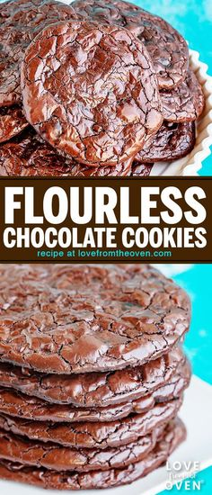Five ingredients, one bowl and less than 20 minutes. Naturally gluten free, dairy free and nut free cookies. Flourless Chocolate Cookies, Chocolate Marshmallow Cookies, Chocolate Chip Shortbread Cookies, Toffee Cookies, Chocolate Cookie Recipes, Cake Chocolate, Chocolate Desserts, Nut Free Cookies, Spice Cookies