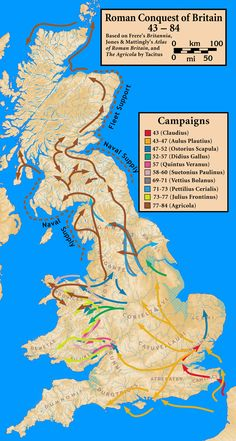 Roman conquest of Britain - this map shows the routes of the many incursions into British territory over the decades the Romans attempted to subdue the British. Uk History, Roman History, European History, British History, American History, Map Of Britain, Roman Britain, Ancient Rome, Ancient History