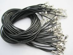on sale 50 pieces 1.8mm 16-18 inch adjustable 1.8mm black rubber neclace cords