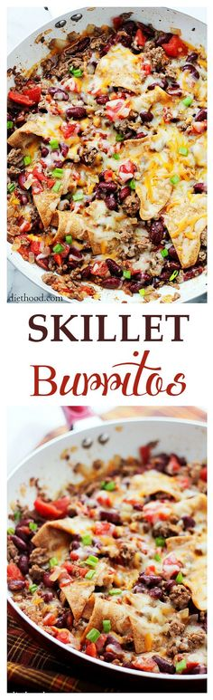 Skillet Burritos – One-Skillet dinner ready in 30-minutes, combining all your favorite Mexican flavors!