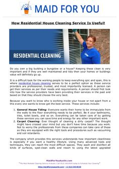 Do you own a big building a bungalow or a house? Keeping these clean is very important and if they are well maintained and tidy then your homes or buildings value will definitely go up. Read full presentation about residential house cleaning here.