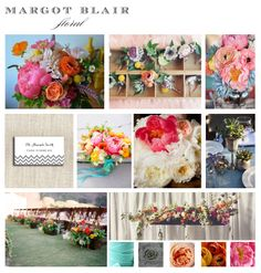 Margot Blair Floral color board | Bright wedding flower inspiration.