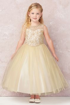bf1f448dc77 Tip Top Kids 5747 Champagne Cord Embroidered Satin   Tulle Dress w  Illusion  Neckline