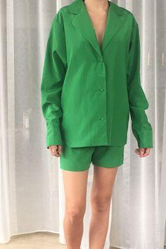 Parrot Green Silk Pyjamas