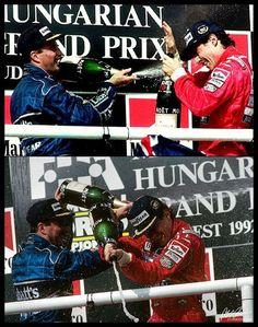 Nigel Mansell, Ayrton Senna - Podium.