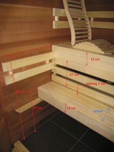 Zelfbouw Sauna banken Sauna House, Sauna Room, Modern Saunas, Indoor Sauna, Dry Sauna, Sauna Design, Finnish Sauna, Steam Bath, Wood Joinery