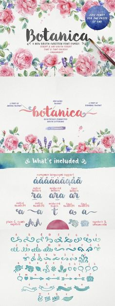 Botanica Brush is a new 100% brush written font family with inky texture that was inspired by modern trends in brush lettering. The fonts look good both together and separately and possibilities are only limited by your imagination. Check it out on Creative Market!