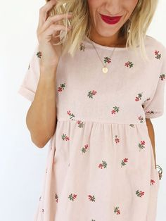 Loren Embroidered Linen Dress