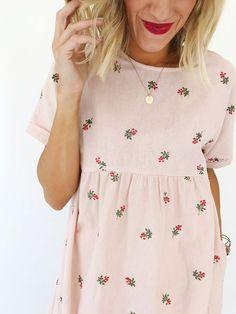 Loren Embroidered Linen Dress
