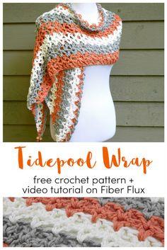Tidepool Wrap, free crochet pattern + video on Fiber Flux Knit Or Crochet, Crochet Scarves, Crochet Crafts, Crochet Clothes, Crochet Stitches, Crochet Hooks, Crochet Projects, Free Crochet, Blanket Crochet