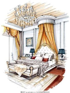 Home Decoration Application Interior Architecture Drawing, Interior Design Renderings, Architecture Concept Drawings, Drawing Interior, Watercolor Architecture, Interior Rendering, Interior Sketch, Architecture Design, Classical Architecture