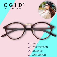 #FASHION #NEW CGID Classic Designer Eyeglasses Retro Round Colorful Frame Glasses 100% UV Protection with Clear Lens for Women PG65