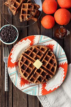 Spiced Orange Chocolate Chip Waffles (Gluten-free + Dairy-free) with Orange Spice Maple Syrup by Tasty Yummies, via Flickr