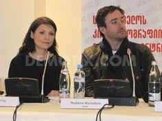 Myanna Buring and Matthew Macfadyen during the press conference.