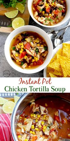 Instant Pot chicken tortilla soup is a delicious, quick and easy dinner that you can throw together in less than thirty minutes. #instantpot #chickentortillasoup Healthy Chicken Tortilla Soup, Chicken Soup Recipes, Healthy Soup Recipes, Cooking Recipes, Slow Cooking, Chicken Soups, Milk Recipes, Instapot Soup Recipes, Cooking Tips