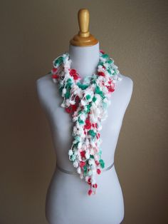 PomPom Christmas Fashion Scarf  Red Green White by Dyers on Etsy, $13.50