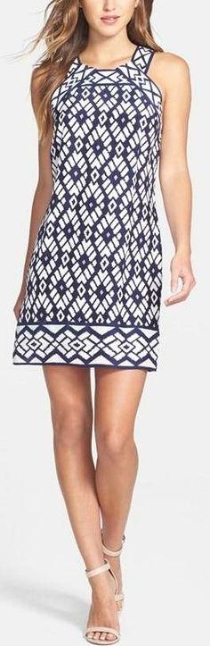 'Michelle' Print Silk Shift Dress