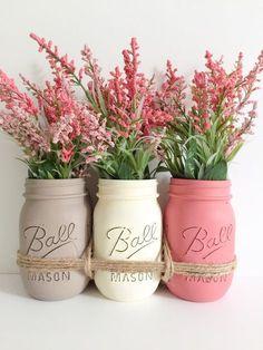 Mason Jars Centerpiece. Wedding Mason Jars von BUtifulDesigns