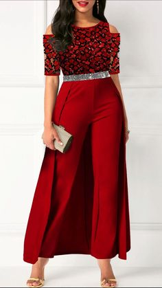 Women'S Red Cold Shoulder Belted Overlay Formal Jumpsuit Lace Panel Half Sleeve Straight Cocktail Party Jumpsuit By Rosewe Cold Shoulder Belted Lace Look Fashion, Fashion Outfits, Womens Fashion, Fashion Clothes, Baby Band, Instagram Mode, Chloe Sevigny, Latest African Fashion Dresses, Winter Trends