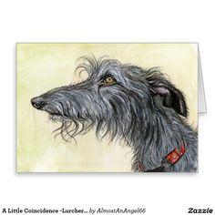 A Little Coincidence -Lurcher Dog Art Greeting Card