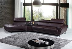 3 pcs Adjustable Headrests Brown Leather Sectional Sofa With Chaise Seater Table