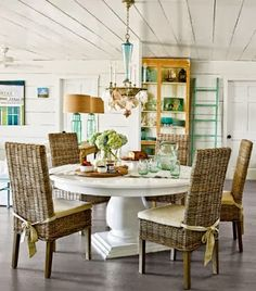 Rattan Dining Room Chairs.... http://www.completely-coastal.com ...