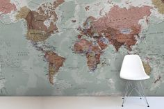 Classic World Map Mural