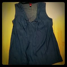 !SALE! Merona sleeveless shirt Nice sleeveless shirt that has long ties from the neckline that you can either leave hang or tie. Sheer shirt and light weight.  Blue purplish color. Merona  Tops Blouses