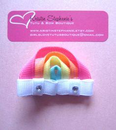 Items similar to Rainbow Hair Clip Ribbon Sculpture Clippie on Etsy - Lomajessic Ribbon Hair Clips, Ribbon Hair Bows, Diy Hair Bows, Hair Barrettes, Hairbows, How To Make Hair, How To Make Bows, Rainbow Hair, Rainbow Ribbon