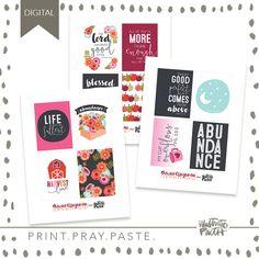 Abundance Journal Card Set | Bible Journaling Printable Ephemera by Illustrated Faith Faith Bible, Illustrated Faith, Project Life, Abundance, Pray, Ephemera, Illustration, Journaling, Projects
