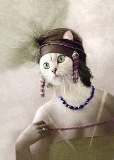 Eirwen - Vintage Cat Print - Anthropomorphic Art Print - Altered Photo - Gift Idea - Funny Animal - Digital Art - Whimsical - Unique Art http://amzn.to/2k2HTMQ