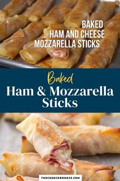 Baked Ham & Cheese Sticks are healthier than the traditional fried appetizer. This easy recipe uses eggroll wrappers instead of deep-fried breading, honey ham and mozzarella cheese for a simple, kid-friendly snack. Baked Cheese, Baked Ham, Ham And Cheese, Game Day Appetizers, Appetizer Recipes, Baked Mozzarella Sticks, Cheese Sticks Recipe, Honey Ham, Game Day Food