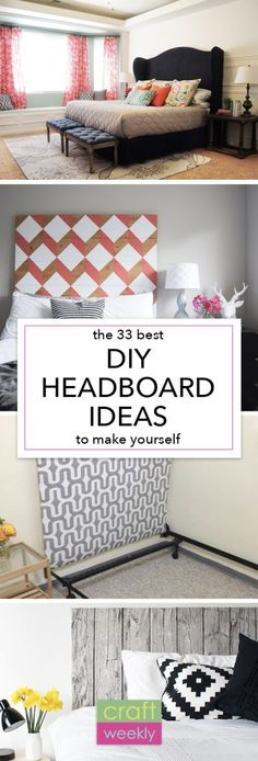 All I can say is WOW! I want to make all of these DIY headboard ideas - maybe a different one for every room! My love affair with DIY home projects began several years back with a homemade headboard just like this. Homemade Headboards, Unique Headboards, Headboard Ideas, Diy Upholstered Headboard, Headboards For Beds Diy, Quilted Headboard, Diy Bathroom, Diy Décoration, Sell Diy