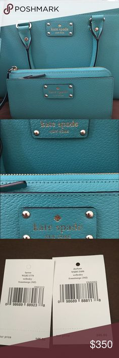 KATE SPADE LIMITED EDITION I BELIEVE  BEAUTIFUL KATE SPADE TEAL PURSE AND WALLET!!  very well taken care of as you can see by the photos! Both purse and wallet are leather! Wallet can get stuck if you overfill  ALL OFFERS WELCOMED! kate spade Bags Satchels