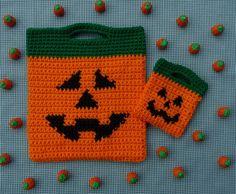 Jack O Lantern Halloween Bags Crochet PATTERN  von WhiskersAndWool