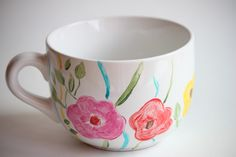 DIY Painted Mug - I always got to some ceramic store and pay a ton of money to do this, so glad I found a way to do it at home for cheap!