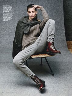 Vogue Russia September 2014   Ophelie Guillermand by Jason Kibbler Burgundy Boots !! Amazing for Autumn