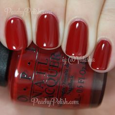 "@opi_products ""Romantically Involved"" is up at PeachyPolish.com! Oh red cremes ... You are my true loves. #OPI"